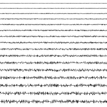 set of horizontal line doodles of seismic waves of the vibrational form of an earthquake with a random frequency and amplitude, a vector seismogram that registers earths vibrations