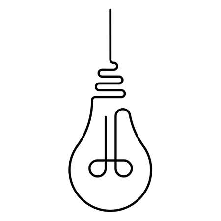 hanging incandescent light bulb is drawn with one line, the vector light bulb with one line is a symbol light warmth and fresh ideas