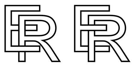 Logo sign er re icon sign interlaced letters R, E vector logo er, re first capital letters pattern alphabet e, r Ilustração