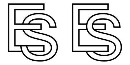 Logo sign es se icon sign interlaced letters S, E vector logo es, se first capital letters pattern alphabet e, s Ilustração
