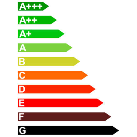 Energy efficiency household appliances from D to A, vector signs diagram energy efficiency A D 矢量图像