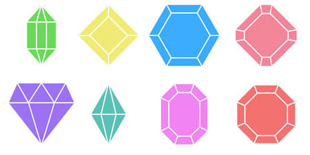 Set shape diamond, vector variety of gem stones with different colors and designs, set colorful gem stones
