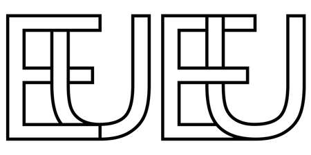 Logo of the European Union EU, vector capital letters E U sign of European Union, national domain EU