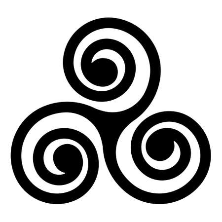 black Celtic triskelion spirals over the white one. Triple helix with two, three turns. Motifs twisted and connected spirals, showing rotational symmetry