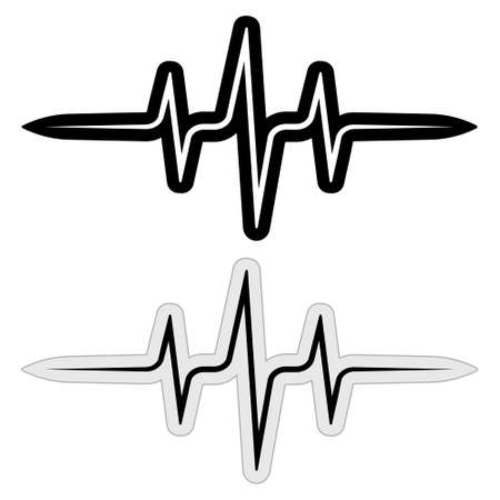 sign sticker music pulse frequency vector wave sound, abstract techno rave sticks, heartbeat cardio files, heart beat line