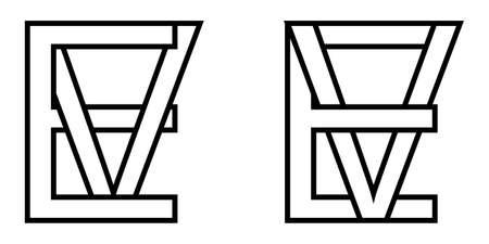 Logo sign ev and ve icon sign interlaced letters V, E vector logo ev, ve first capital letters pattern alphabet e, v