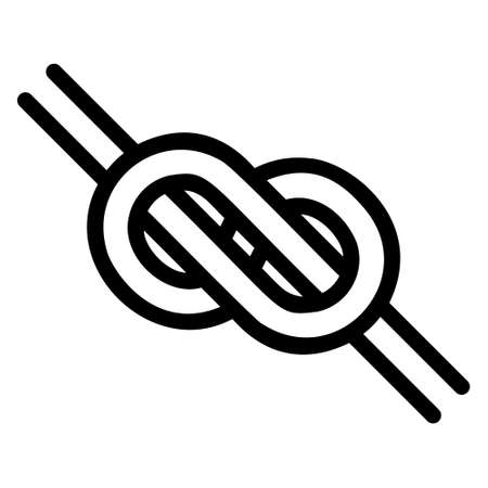 knotted knot in the form of an infinity, the shape is a simple black and white emblem to tie, tightly knotted knot icon Иллюстрация