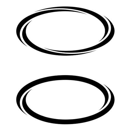 Oval ellipse banner frames, borders, vector hand-drawn graphics, oval markers text selection Ilustração