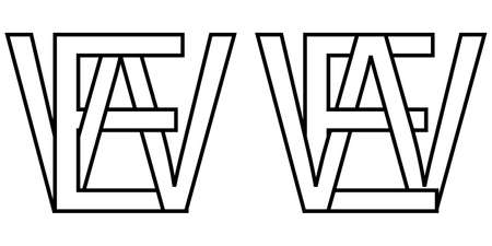 Logo sign ew we icon sign interlaced letters W, E vector logo ew, we first capital letters pattern alphabet e, w
