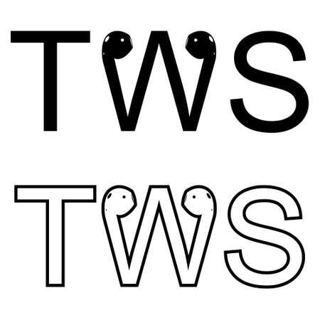 Tws headphones icon. Cartoon of vector TWS true wireless stereo headphones stereo headset playing high quality music