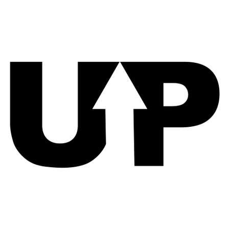 Sign logo up arrow in the word, vector up arrow Ilustração