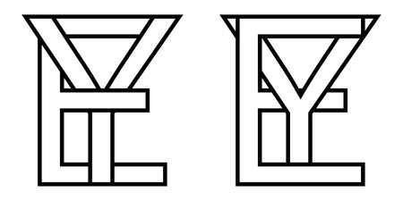 Logo sign ey ye icon sign interlaced letters Y, E vector logo ey, ye first capital letters pattern alphabet e, y Ilustração