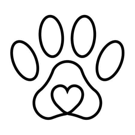 Pet paw print cat dog man friend, vector pet paw print with heart, sign symbol love for animals. Ilustração