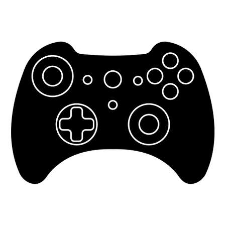 Game controller silhouette outlines gamepad x box, vector joystick gamepad games
