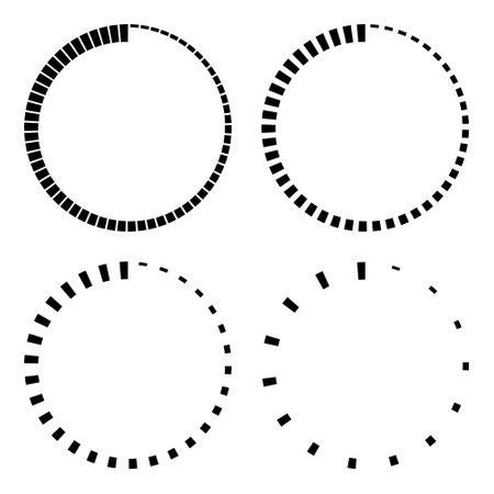 Set stripes around the circle countdown, vector circular icon with stripes around perimeter, time sign