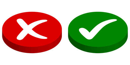 Buttons input output, rejected approved, vector cross mark and check mark, green start, red stop buttons Ilustração