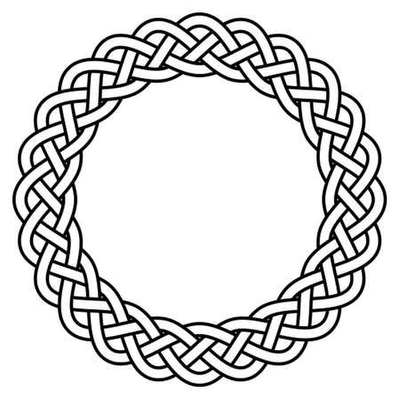 braided knitted guilloche rosette frame vector circular celtic scandinavian knotty pattern Illustration