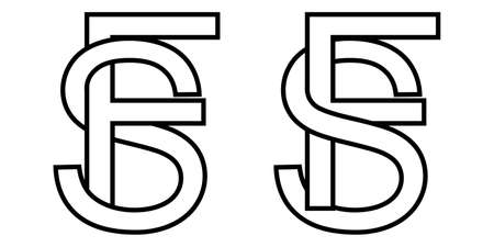 Sign fs and sf icon sign interlaced letters s, F vector sf, fs first capital letters pattern alphabet s f Иллюстрация