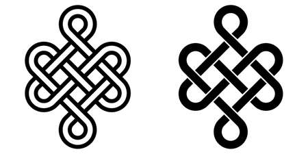 Mystical knot of longevity and health, Feng Shui luck sign, vector infinity knot, tattoo of the symbol health of occultism and witchcraft