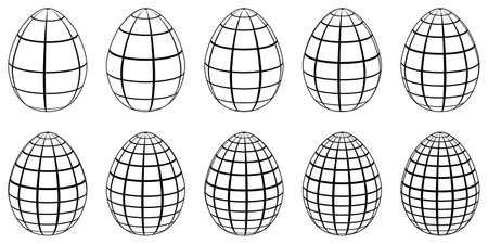 Set of 3d eggs with horizontal and vertical lines, meridians and parallels, vector 3d eggs stylized as globe