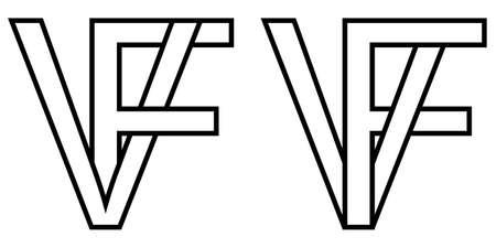 Logo sign fv, vf icon sign interlaced letters v, F vector logo vf, fv first capital letters pattern alphabet v f Ilustrace