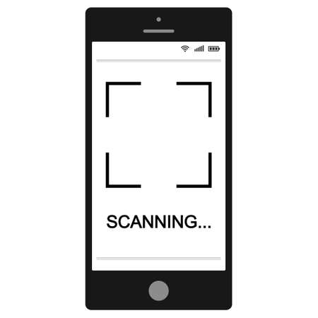 Mobile phone smartphone with QR code scanning process on the screen, vector sign scanning QR code