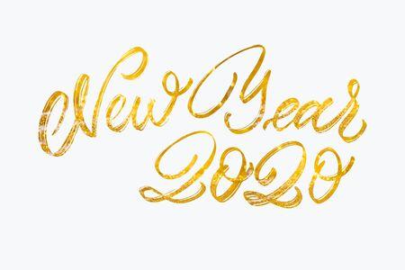 Felice anno nuovo testo di calligrafia con fiocchi di neve colorati disegnati a mano su sfondo Glitter. Sfondo decorativo di festa di Natale e Capodanno. Testo di celebrazione di felice anno nuovo 2020. Archivio Fotografico