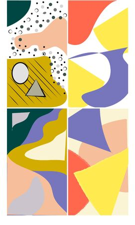 Abstract vector pattern with simple geometric shapes and forms. Long composition of graphic elements, useful for web design, business presentation, website header, invitation background. Vecteurs