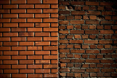 Whole and half-demolished brick wall located near each other Stock Photo - 6925083