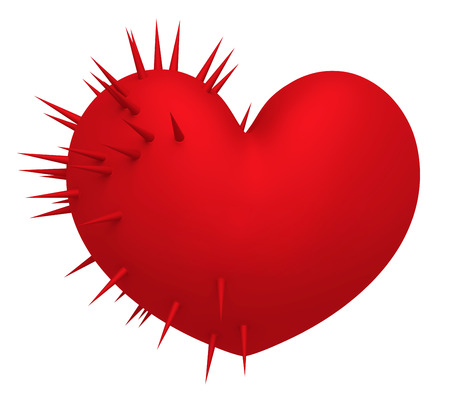 Red heart with sharp thin thorns on a white background. 3d illustration.
