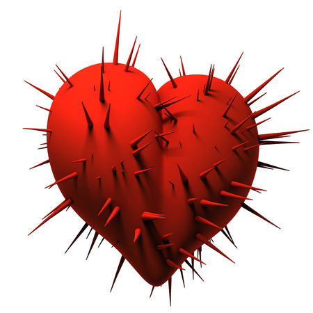 Red dark heart with sharp thin thorns on a white background. 3d illustration.