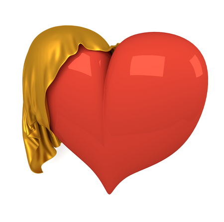 Red voluminous heart covered with a golden cloth.
