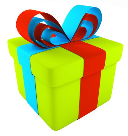 Gift wrapping with festive ribbon and bow.