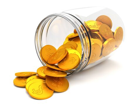 Transparent glass jar with gold coins with a dollar sign.