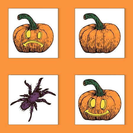 Vector colorful Halloween sticker set of pumpkins and spider Stock Photo