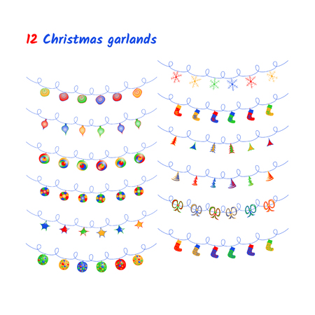 Vector set of Christmas lights and garlands. Imagens - 124887465