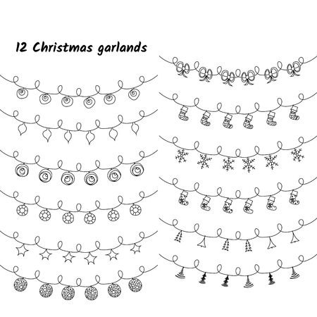 Vector set of Christmas lights and garlands. Imagens - 124887466