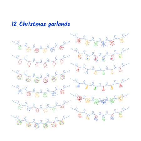Vector set of Christmas lights and garlands. Imagens - 124887463