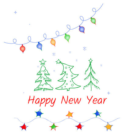 Vector greeting cards for Christmas holidays with lights, garlands and trees Imagens - 124887467