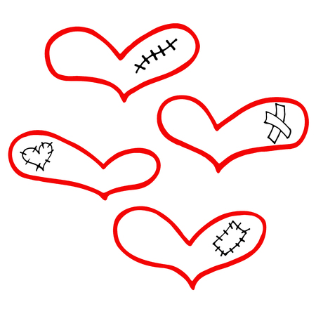 Vector set of hand drawn hearts with plaster, scar and patch in doodling style for Valentine's day.