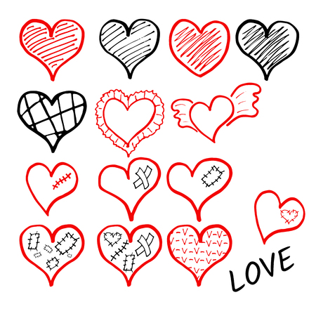 Vector set of hand drawn shaded hearts whis wings, plaster, scar, ruche and patch Stockfoto