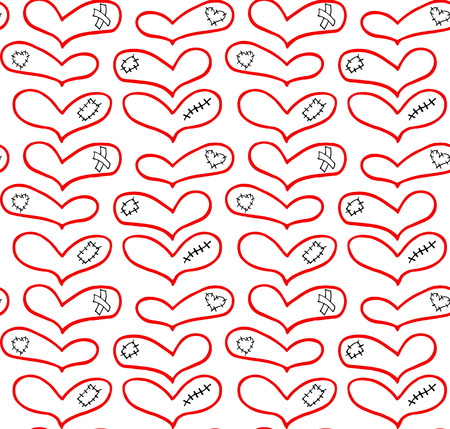 Vector pattern of hand drawn hearts with plaster, scar and patch in doodling style.