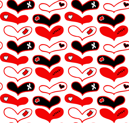 Vector pattern of hand drawn red and black hearts with plaster, scar and patch in doodling style.