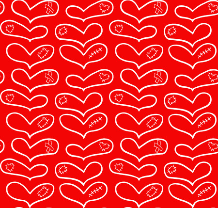 Vector pattern of hand drawn white hearts with plaster, scar and patch in doodling style on red background. For printing on textiles.