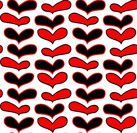 Vector pattern of hand drawn red black hearts in doodling style on white background Zdjęcie Seryjne