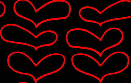 Seamless pattern of hand drawn red hearts in doodling style on black background