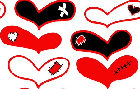 Seamless pattern of hand drawn red and black hearts with plaster, scar and patch