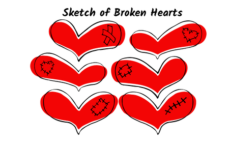 Vector set of hand drawn red hearts with black stroke and plaster, scar and patch in sketch, doodling style on white background