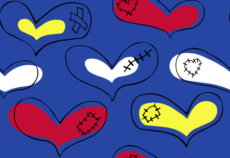 Vector seamless pattern of hand drawn red, yellow, white hearts with black stroke and plaster, scar and patch in doodling style on blue background