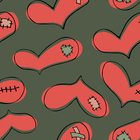 Vector seamless pattern of coral hand drawn hearts in doodle style with black stroke and patch, scar and plaster on green background.
